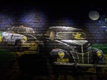 Ζωγραφική τουβλότοιχος Στοκ εικόνες με δικαίωμα ελεύθερης χρήσης