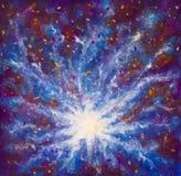 Ζωγραφική του γαλαξία στη διαστημική, μπλε κοσμική πυράκτωση, ομορφιά του κόσμου, σύννεφο του αστεριού, υπόβαθρο θαμπάδων, καμβάς στοκ εικόνα με δικαίωμα ελεύθερης χρήσης