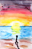 Ζωγραφική του ηλιοβασιλέματος ελεύθερη απεικόνιση δικαιώματος