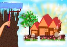 Ζωγραφική του νέου σπιτιού ονείρου διανυσματική απεικόνιση
