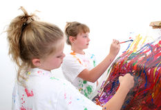 ζωγραφική φίλων Στοκ Εικόνες