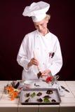ζωγραφική φύλλων σοκολά&ta Στοκ φωτογραφία με δικαίωμα ελεύθερης χρήσης