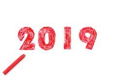 ζωγραφική χεριών έτους του 2019 νέα και ελαιόχρωμα κρητιδογραφιών απεικόνιση αποθεμάτων