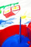 Ζωγραφική χρώματος παιδιών Στοκ φωτογραφίες με δικαίωμα ελεύθερης χρήσης