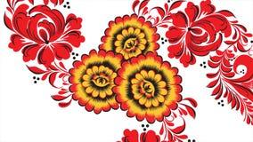 Ζωγραφική Khokhloma Ρωσία των φωτεινών κόκκινων λουλουδιών και των μούρων στο άσπρο υπόβαθρο Αφηρημένος fractal μετασχηματισμός διανυσματική απεικόνιση