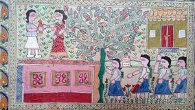 Ζωγραφική Mithila από Tushar Shandilya που υποστηρίζεται από τα tcreations Στοκ φωτογραφία με δικαίωμα ελεύθερης χρήσης