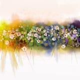 Ζωγραφική Watecolorflowers Εποχιακό υπόβαθρο φύσης άνοιξη ελεύθερη απεικόνιση δικαιώματος