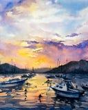 Ζωγραφική Watercolor - βάρκες ελεύθερη απεικόνιση δικαιώματος