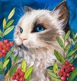 Ζωγραφική Watercolor - γάτα ελεύθερη απεικόνιση δικαιώματος