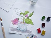 Ζωγραφική Watercolor λουλουδιών Flatlay σύνθεση έργου τέχνης στο λευκό Στοκ εικόνες με δικαίωμα ελεύθερης χρήσης