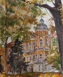 Ζωγραφική Watercolor σε χαρτί, σύγχρονο έργο τέχνης, ευρωπαϊκή πόλη, έννοια Watercolor Έννοια αρχιτεκτονικής Στοκ φωτογραφία με δικαίωμα ελεύθερης χρήσης