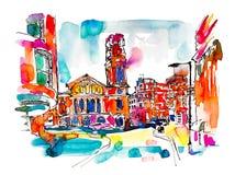 Ζωγραφική watercolor σκίτσων της οδού του Λονδίνου με την εκκλησία, φωτεινή διανυσματική απεικόνιση