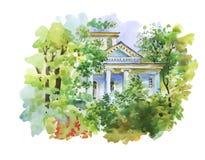 Ζωγραφική Watercolor του σπιτιού στην απεικόνιση ξύλων Στοκ Εικόνες