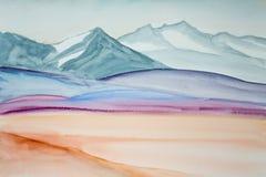 Ζωγραφική Watercolor του τοπίου βουνών Στοκ φωτογραφία με δικαίωμα ελεύθερης χρήσης