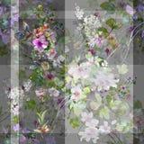 Ζωγραφική Watercolor του φύλλου και των λουλουδιών, άνευ ραφής σχέδιο σε γκρίζο διανυσματική απεικόνιση