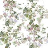 Ζωγραφική Watercolor του φύλλου και των λουλουδιών, άνευ ραφής σχέδιο στο άσπρο υπόβαθρο Στοκ Φωτογραφίες