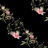 Ζωγραφική Watercolor του φύλλου και των λουλουδιών, άνευ ραφής σχέδιο στο σκοτάδι απεικόνιση αποθεμάτων