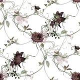 Ζωγραφική Watercolor του φύλλου και των λουλουδιών, άνευ ραφής σχέδιο στο λευκό στοκ εικόνα με δικαίωμα ελεύθερης χρήσης