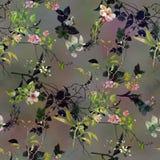 Ζωγραφική Watercolor του φύλλου και των λουλουδιών, άνευ ραφής σχέδιο στο σκοτάδι στοκ εικόνες