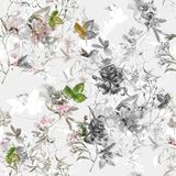 Ζωγραφική Watercolor του φύλλου και των λουλουδιών, άνευ ραφής σχέδιο στο λευκό στοκ εικόνες
