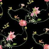 Ζωγραφική Watercolor του φύλλου και των λουλουδιών, άνευ ραφής σχέδιο στο σκοτάδι στοκ φωτογραφία