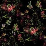 Ζωγραφική Watercolor του φύλλου και των λουλουδιών, άνευ ραφής σχέδιο στο σκοτάδι στοκ φωτογραφία με δικαίωμα ελεύθερης χρήσης