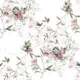 Ζωγραφική Watercolor του φύλλου και των λουλουδιών, άνευ ραφής σχέδιο στο λευκό στοκ εικόνες με δικαίωμα ελεύθερης χρήσης