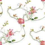Ζωγραφική Watercolor του φύλλου και των λουλουδιών, άνευ ραφής σχέδιο στο λευκό στοκ φωτογραφία