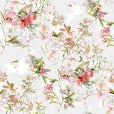 Ζωγραφική Watercolor του φύλλου και των λουλουδιών, άνευ ραφής σχέδιο στο λευκό στοκ φωτογραφία με δικαίωμα ελεύθερης χρήσης