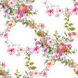 Ζωγραφική Watercolor του φύλλου και των λουλουδιών, άνευ ραφής σχέδιο στοκ φωτογραφία με δικαίωμα ελεύθερης χρήσης