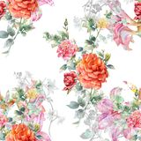 Ζωγραφική Watercolor του φύλλου και των λουλουδιών, άνευ ραφής ελεύθερη απεικόνιση δικαιώματος