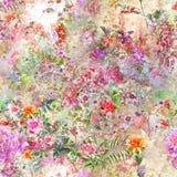 Ζωγραφική Watercolor του φύλλου και των λουλουδιών, άνευ ραφής διανυσματική απεικόνιση