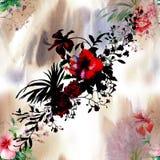Ζωγραφική Watercolor του φύλλου και των λουλουδιών, άνευ ραφής απεικόνιση αποθεμάτων