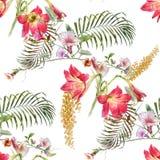 Ζωγραφική Watercolor του φύλλου και των λουλουδιών, άνευ ραφής σχέδιο στο άσπρο υπόβαθρο διανυσματική απεικόνιση