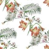 Ζωγραφική Watercolor των φύλλων και των λουλουδιών διανυσματική απεικόνιση