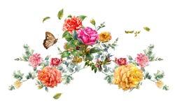 Ζωγραφική Watercolor των φύλλων και του λουλουδιού, στο λευκό ελεύθερη απεικόνιση δικαιώματος