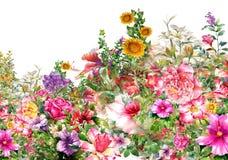 Ζωγραφική Watercolor των φύλλων και του λουλουδιού ελεύθερη απεικόνιση δικαιώματος