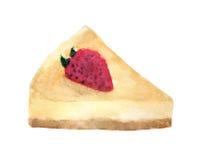 Ζωγραφική Watercolor cheesecake φραουλών που απομονώνεται στο άσπρο υπόβαθρο απεικόνιση αποθεμάτων