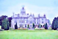 Ζωγραφική Watercolour Σπίτι φέουδων Adare στο πεντάστιχο κομητειών, Ιρλανδία στοκ φωτογραφία