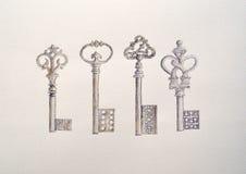 Ζωγραφική Watercolour τεσσάρων παλαιών κλειδιών διανυσματική απεικόνιση