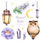 Ζωγραφισμένα στο χέρι λουλούδια watercolor, φύλλα, φεγγάρι και αστέρια, λαμπτήρας νύχτας, κρύσταλλα και χαριτωμένη κουκουβάγια ελεύθερη απεικόνιση δικαιώματος