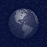 Ζωγραφισμένη με κουκίδες διάνυσμα παγκόσμια τυποποιημένη σφαίρα Άποψη της Αμερικής Στοκ Εικόνα