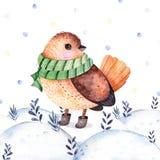 Ζωγραφισμένη στο χέρι απεικόνιση Watercolor με ένα χαριτωμένο πουλί ελεύθερη απεικόνιση δικαιώματος