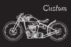 Ζωγραφισμένη στο χέρι μοτοσικλέτα και εγγραφή Στοκ Εικόνες