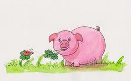 Ζωγραφισμένη στο χέρι νέα ζωγραφική watercolor έτους Στοκ Εικόνες