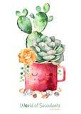 Ζωγραφισμένοι στο χέρι succulent εγκαταστάσεις και κάκτος Watercolor στις πέτρες δοχείων και χαλικιών διανυσματική απεικόνιση