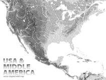 Ζωγραφισμένος με κουκίδες διάνυσμα χάρτης ανακούφισης των ΗΠΑ και της μέσης Αμερικής απεικόνιση αποθεμάτων