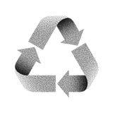 Ζωγραφισμένο με κουκίδες ανακύκλωσης σημάδι επίσης corel σύρετε το διάνυσμα απεικόνισης Στοκ φωτογραφίες με δικαίωμα ελεύθερης χρήσης