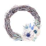 Ζωγραφισμένο στο χέρι στεφάνι λουλουδιών anemone watercolor στο εκλεκτής ποιότητας ύφος Στοκ εικόνες με δικαίωμα ελεύθερης χρήσης