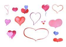 Ζωγραφισμένο στο χέρι σύμβολο καρδιών Watercolor: περιγραμμένα και χρωματισμένα clipart στοιχεία ελεύθερη απεικόνιση δικαιώματος